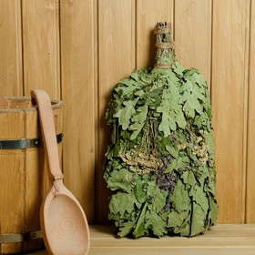 Broom for a bath EXTRA from Caucasian oak with a bouquet of herbs, individually wrapped