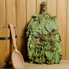 """Broom for a bath """"Scents of forest"""" from Caucasian oak with herbs, individually wrapped"""