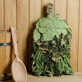 """Broom for a bath """"Crown of health"""" from Caucasian oak with herbs, individually wrapped"""