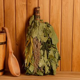 """Broom for a bath """"Sport"""" from wormwood and nettles, individually wrapped"""