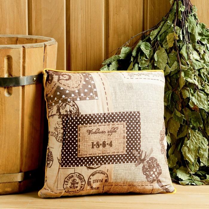 Подушка из кавказских трав на основе листьев дуба и эвкалипта, 27×27 см
