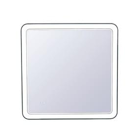 """Зеркало """"Атлантика 80*80"""" с подсветкой и часами"""