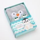 """Набор """"Пингвин"""", махровое полотенце с капюшоном 85*85 см, следки 18 см - фото 105552361"""