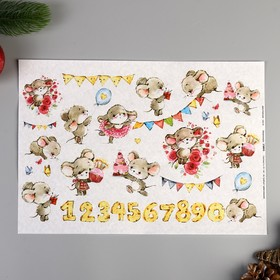 """Decoupage map """"Holiday mice"""" density of 45 g/m2, A4"""