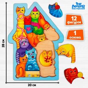 Головоломка «Коты», размер 28 × 20см, головоломка логическая