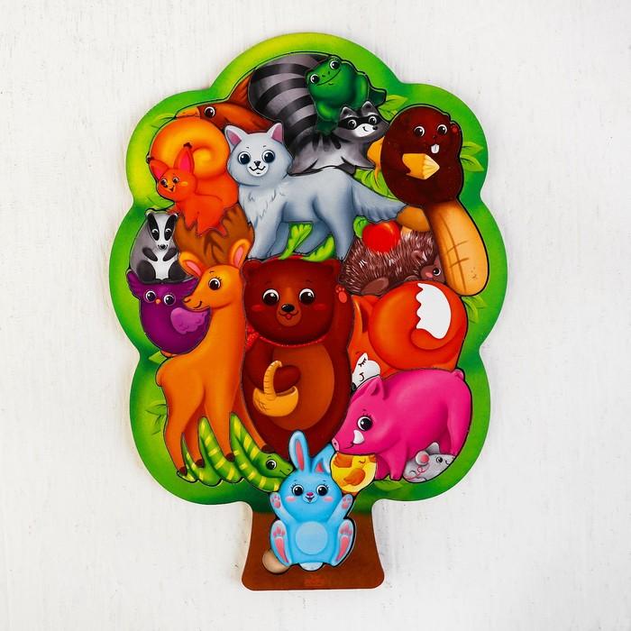 """Головоломка """"Лесные животные"""", размер 28*20 см, головоломка логическая - фото 105588259"""