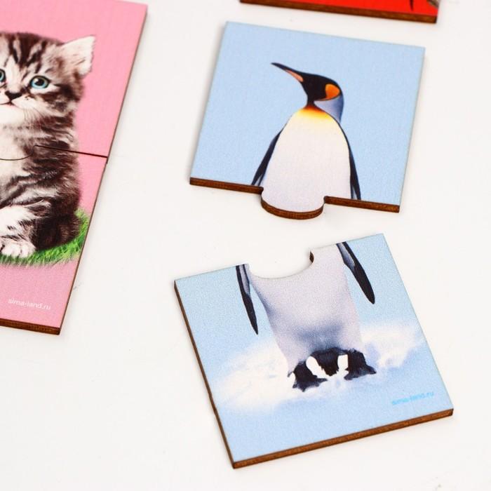 Пазл двойной «Животные» (головоломка), 12 пазлов, 24 детали - фото 105598801