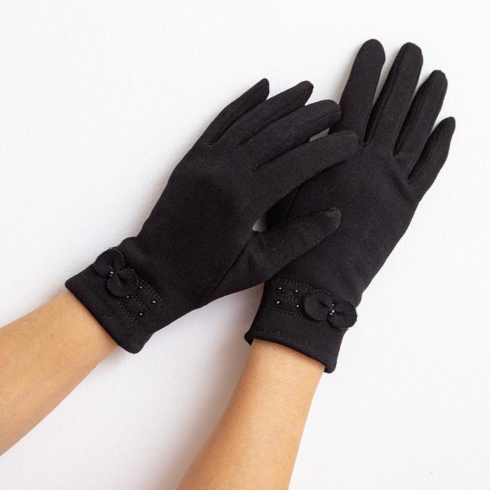 """Перчатки женские """"Бантик"""", размер 17, цвет чёрный"""