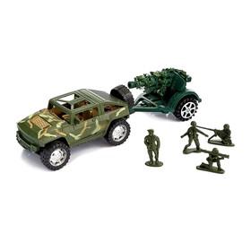 Машина инерционная «Военный джип» с пушкой и солдатом