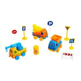 Машина «Забавная стройка», набор 3 машины и дорожные знаки, цвета МИКС