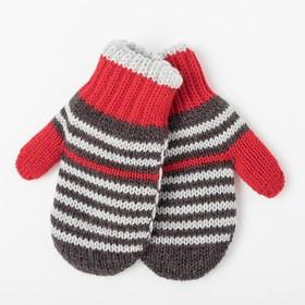 Варежки детские двойные, цвет красный, размер 12