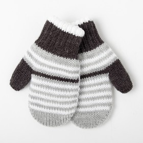 Варежки детские двойные, цвет серый, размер 12