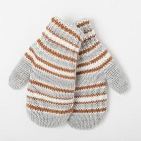Варежки для мальчика двойные, серый с коричневым, размер 14