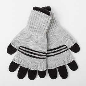 Double gloves for children, black / gray, size 14