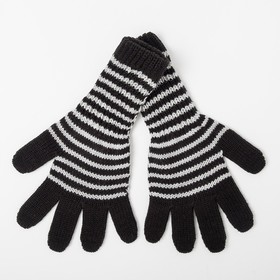 Gloves for girls, elongated, black, size 16