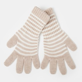 Gloves for girls, elongated, beige, size 16