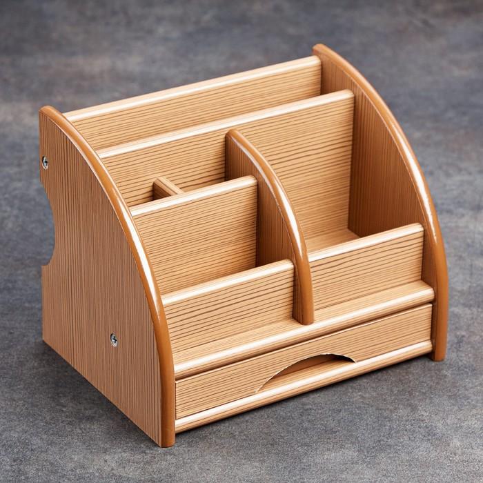 Органайзер 5 секций, 1 выдвижной ящик, серия Ясень шимо темный с кантом темным, 20*16,5*15,5