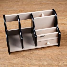 Organizer, 6 sections, extension 1 drawer, wenge/oak milk, 28*14*16cm