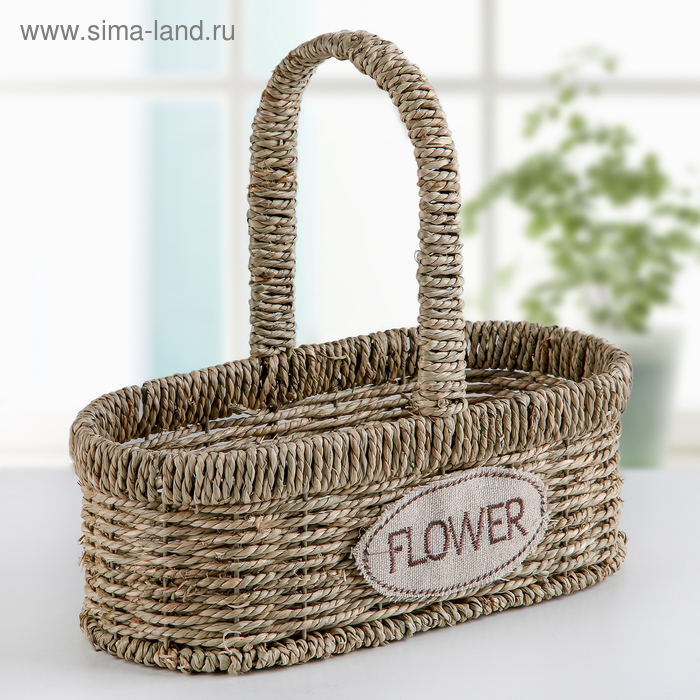 "Wicker planter with handle ""Flowers"" 24х12х23 cm, color brown"