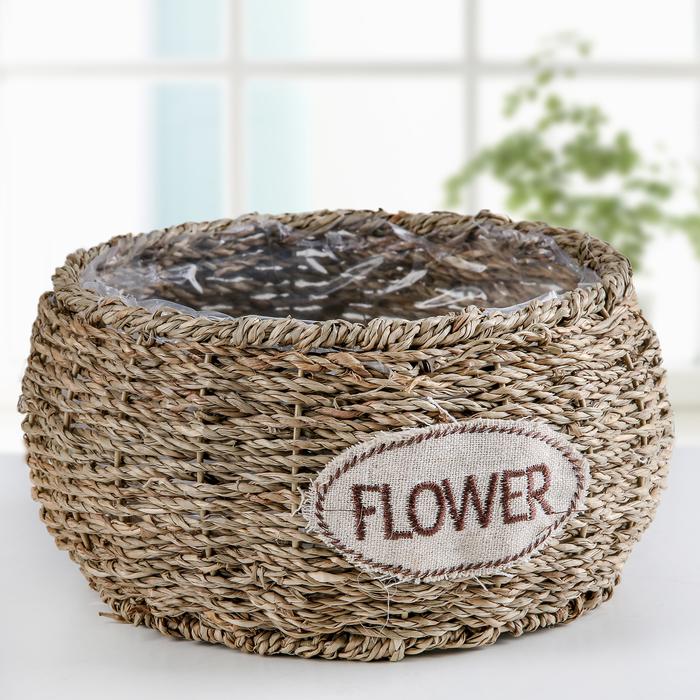 """Кашпо плетёное """"Цветы"""", цвет коричневый"""