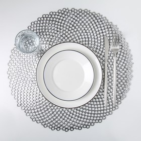 Салфетка кухонная «Роса», 38×38 см, цвет серебро