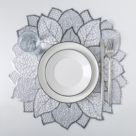 Салфетка кухонная «Цветок», 45×45 см, цвет серебро