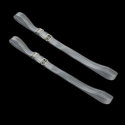 Silicone straps, 1 cm, pair, color: transparent