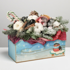 Деревянный ящик с ручками «Снегири», 24.5 × 5 × 10 см - фото 702360