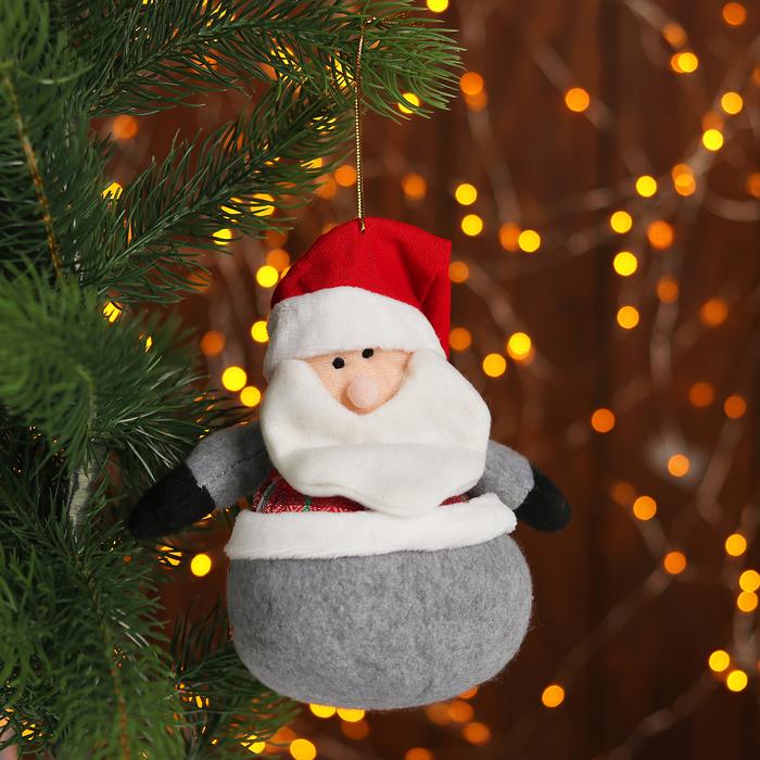 Подвеска «Дед Мороз и Снеговик», жилетка в клеточку, виды МИКС