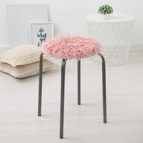"""Сидушка на стул меховая Доляна """"Уют"""" цв.розовый d 30 cm,100% п/э"""
