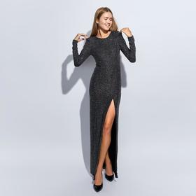 Платье женское MINAKU  с пайетками длинное, размер 42, цвет черный