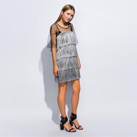 Платье с бахромой MINAKU, размер 48, цвет серебро