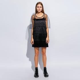 Платье с бахромой MINAKU, размер 42, цвет черный