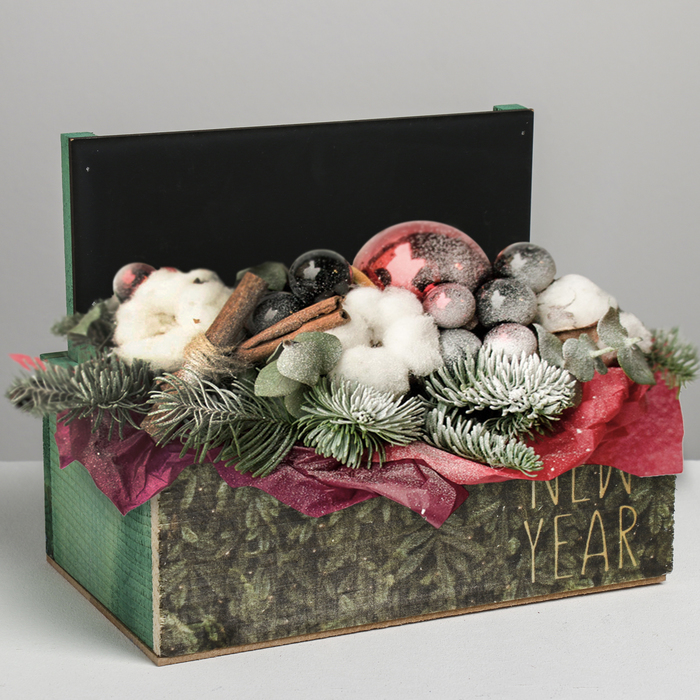 Кашпо с грифельной табличкой «Ёлки», 24.5 × 14.5 × 14.7 см