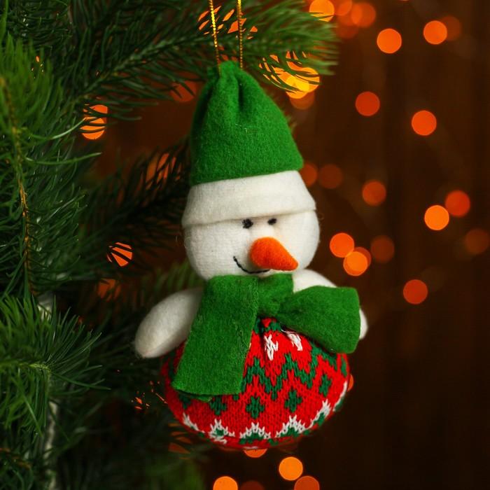 Подвеска «Дед Мороз и Снеговик», зелёный колпак, виды МИКС