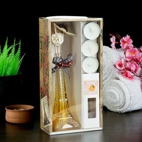 "Gift set ""Eiffel tower""(vase,2 sticks, 3 candle ,decor,essential oils 30 ml), orange 43553"