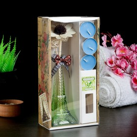 "Gift set ""Eiffel tower""(vase,2 sticks, 3 candle ,decor,essential oils 30 ml), tea"