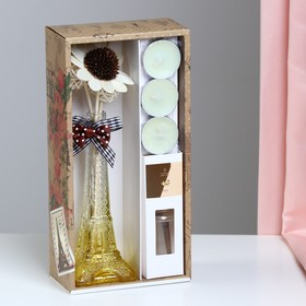 "Gift set ""Eiffel tower""(vase,2 sticks, 3 candle ,decor,essential oils 30 ml), vanilla"