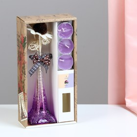 "Gift set ""Eiffel tower""(vase,2 sticks, 3 candle ,decor,essential oils 30 ml), violet"