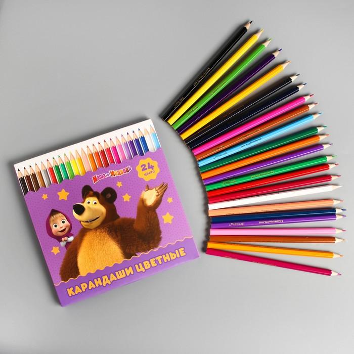 Карандаши цветные, 24 цветов, Маша и Медведь