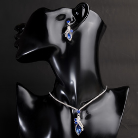 "Set with rhinestones 2 pieces: earrings, pendant ""Varis"" drop, color white, and blue, in silver, 30 cm 445"