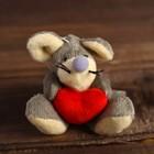 Мягкая игрушка-подвеска «Мышка с красным сердцем», цвета МИКС