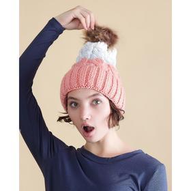 """Шапка женская с помпоном MINAKU """"Winter"""", размер 54-56, цвет  белый/розовый"""