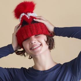 """Шапка женская с помпоном MINAKU """"Snowy"""", размер 54-56, цвет красный"""