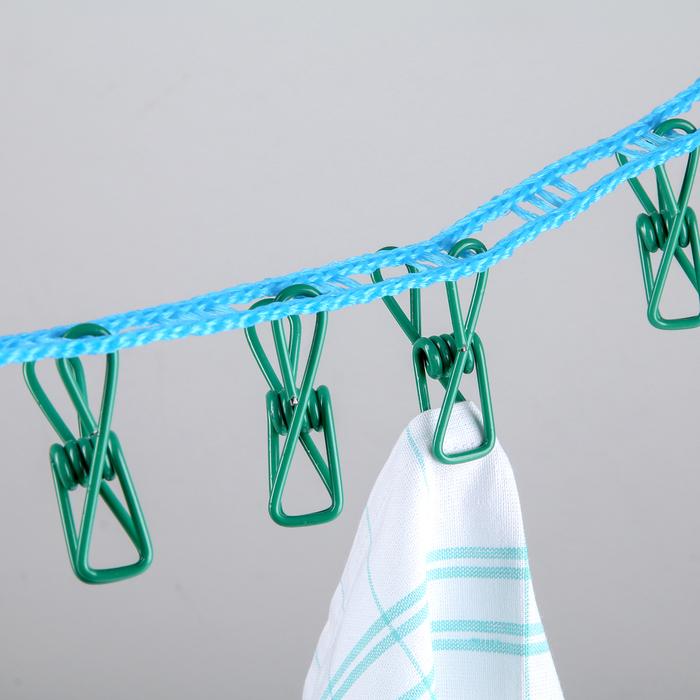 Лента бельевая с прищепками и крючками и перфорацией для плечиков 3 м, цвет МИКС