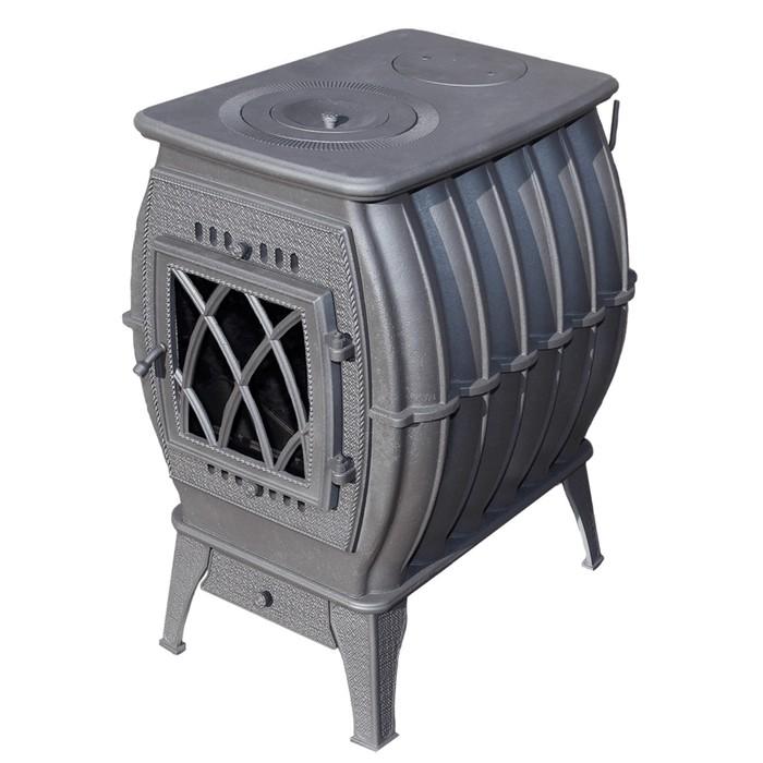 Печь-камин отопительно-варочная «Бахта», цвет серый