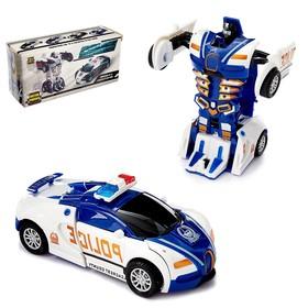 Робот инерционный «Полицейский», трансформируется автоматически при столкновении, цвета МИКС