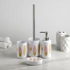 Набор аксессуаров для ванной комнаты «Листочки», 4 предмета (дозатор 300 мл, мыльница, стакан, ёрш)