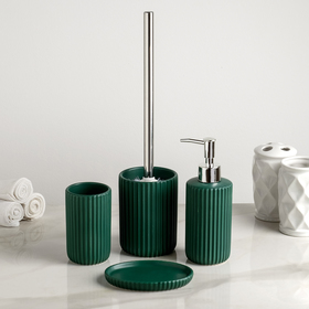"Bath set ""Mono"" 4 piece (soap dish. soap dispenser, tumbler, brush), green"