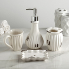 Набор аксессуаров для ванной комнаты «Музеон», 4 предмета (дозатор 300 мл, мыльница, 2 стакана), цвет белый